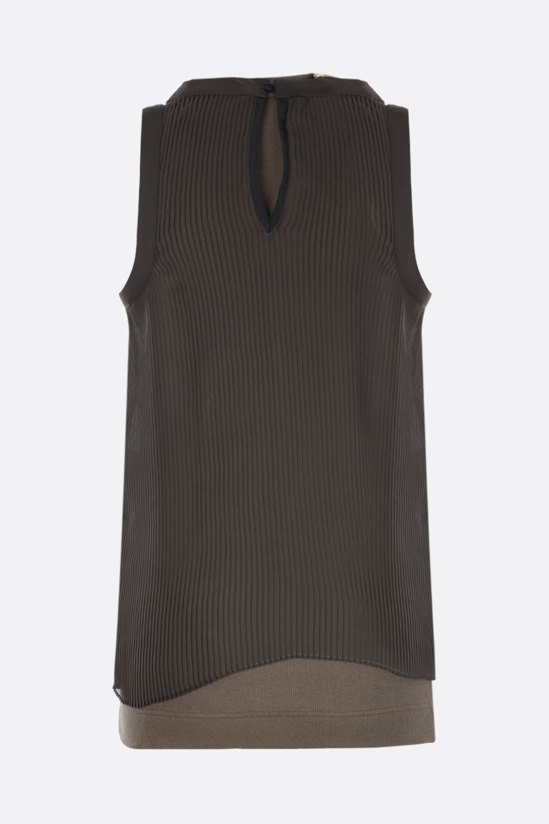 SACAI: ribbed stretch cotton tank top with chiffon panel Color Brown_2