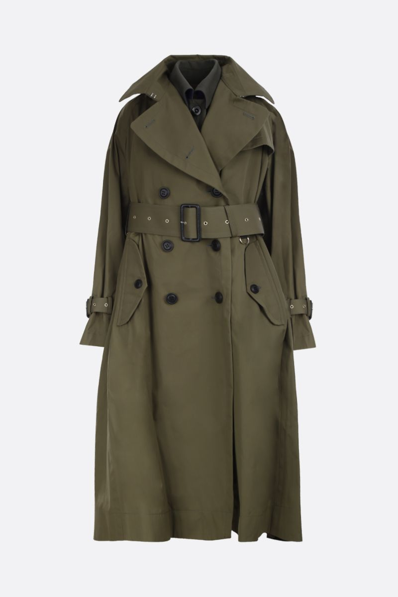 SACAI: cotton destructured trench coat with wool blend panels Color Brown_1