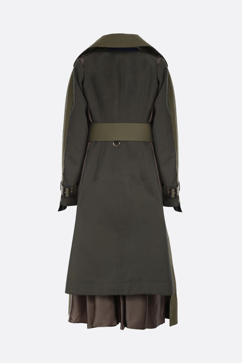 SACAI: cotton destructured trench coat with wool blend panels Color Brown_2