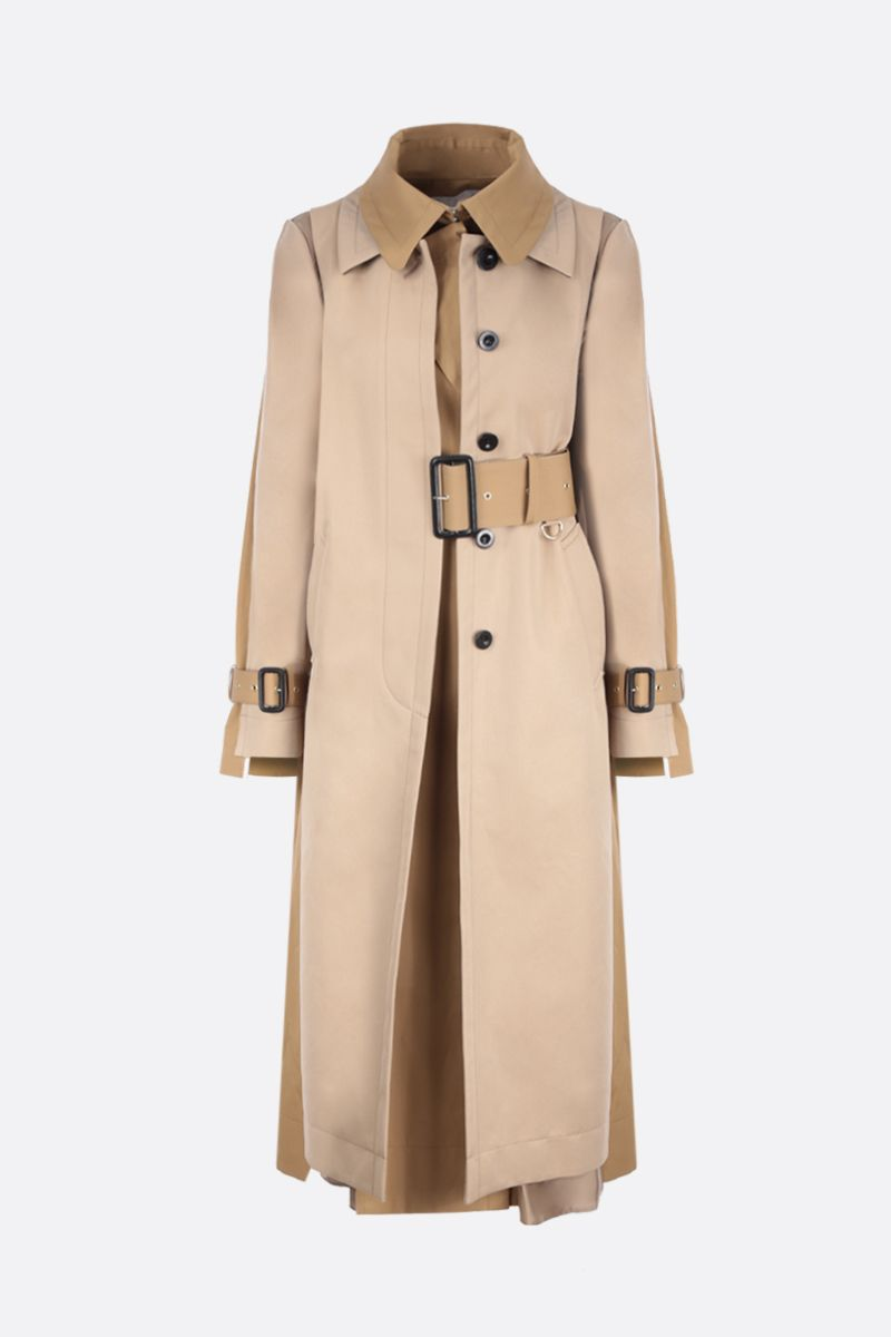 SACAI: destructured trench coat in wool blend with twill panels Color Neutral_1