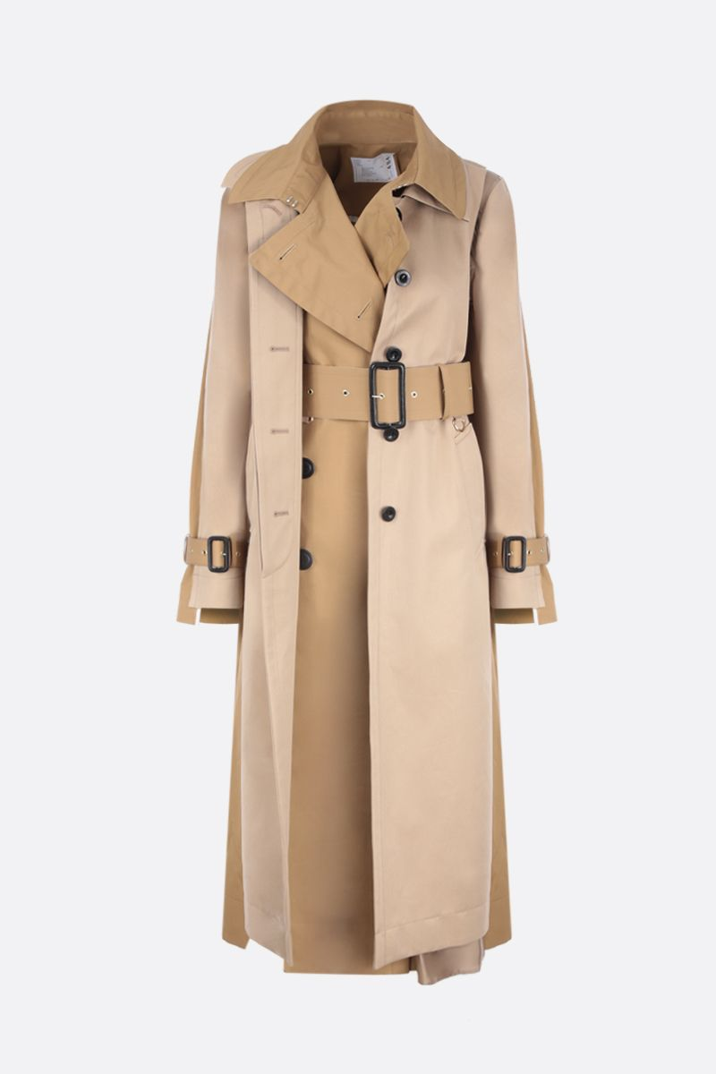SACAI: destructured trench coat in wool blend with twill panels Color Neutral_2