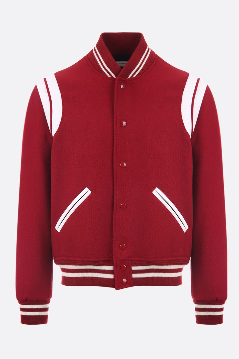 SAINT LAURENT: wool blend bomber jacket with leather inserts Color Red_1