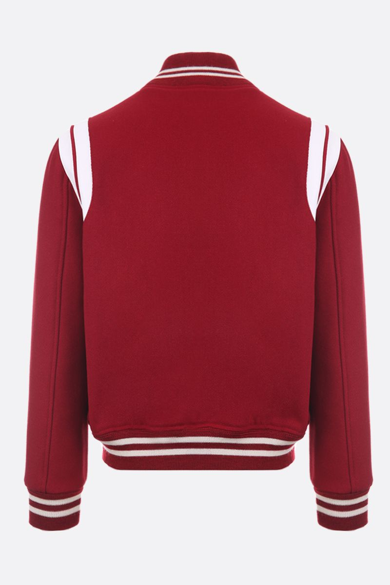 SAINT LAURENT: wool blend bomber jacket with leather inserts Color Red_2