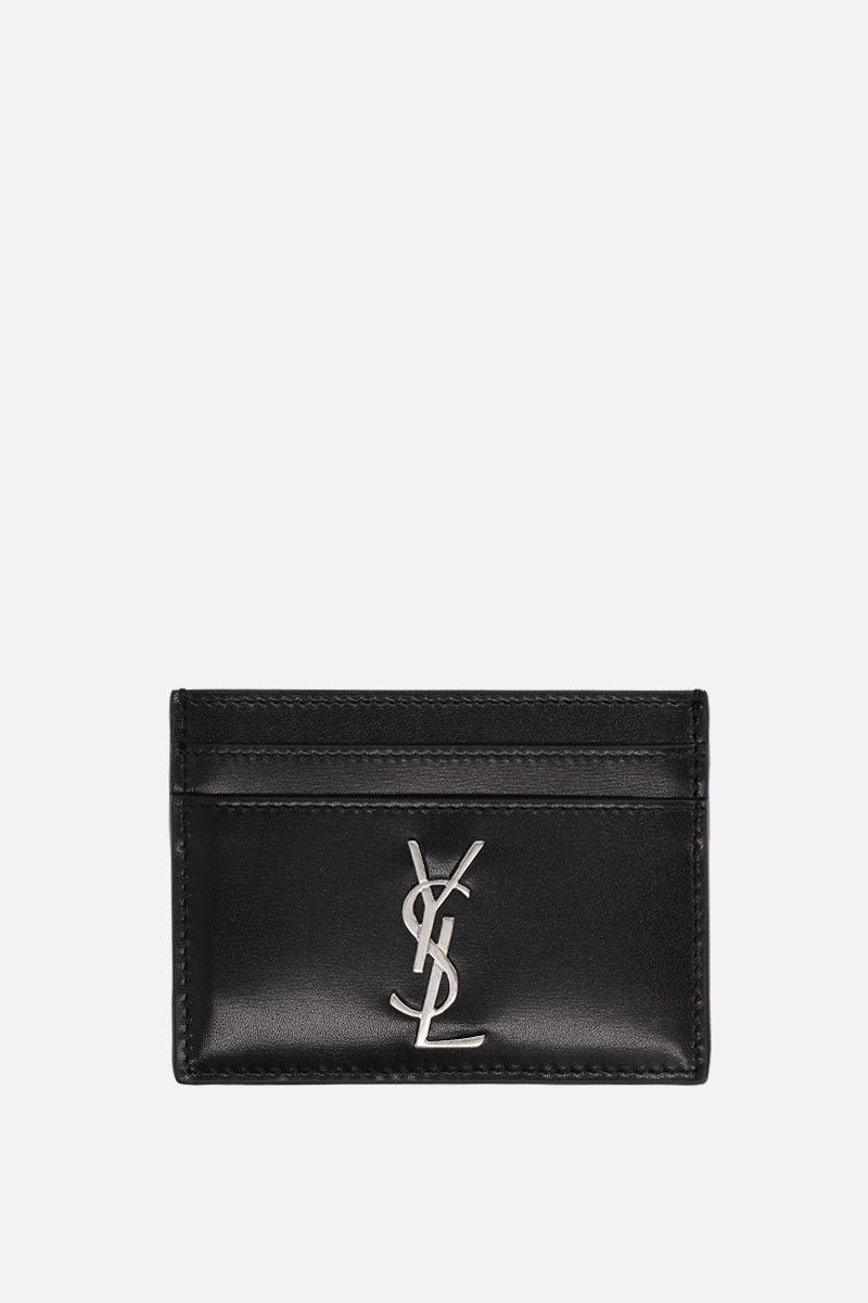 SAINT LAURENT: Monogram card case in smooth leather Color Black_1