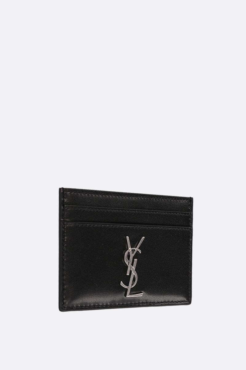 SAINT LAURENT: Monogram card case in smooth leather Color Black_2