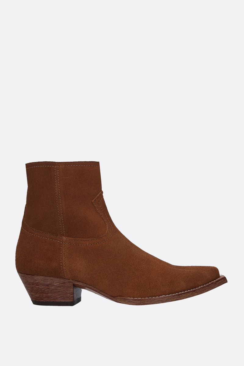 SAINT LAURENT: Lukas western boots in suede Color Brown_1