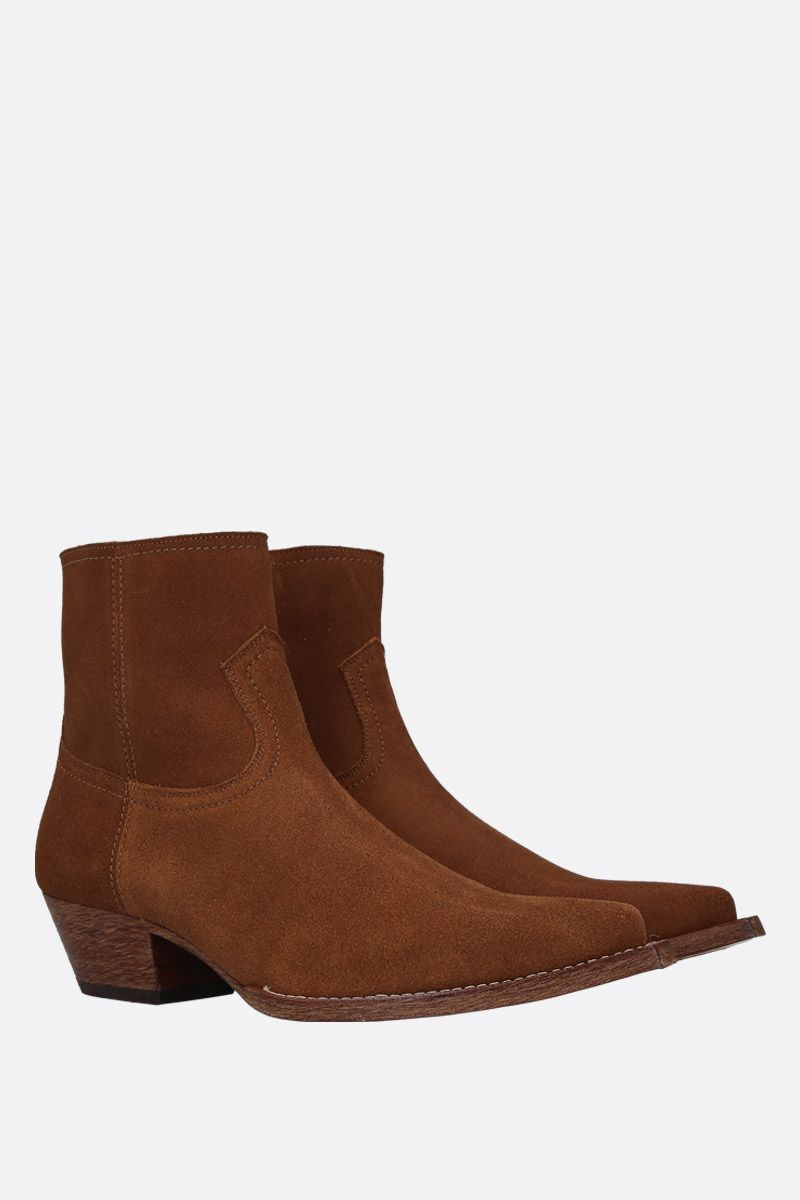 SAINT LAURENT: Lukas western boots in suede Color Brown_2