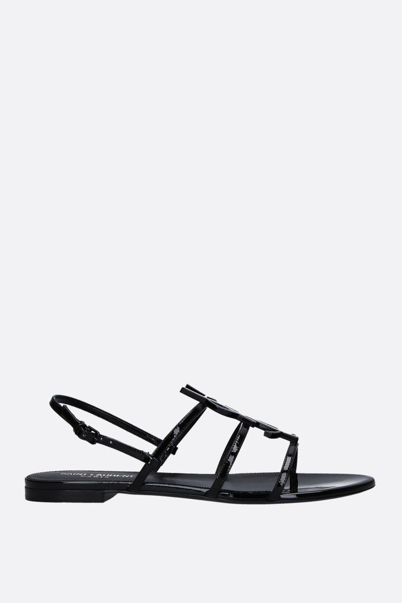 SAINT LAURENT: Cassandra flat sandals in patent leather Color Black_1