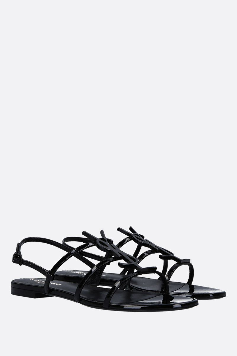 SAINT LAURENT: Cassandra flat sandals in patent leather Color Black_2