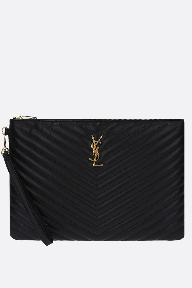 SAINT LAURENT: Monogram tablet holder in quilted leather Color Black_1