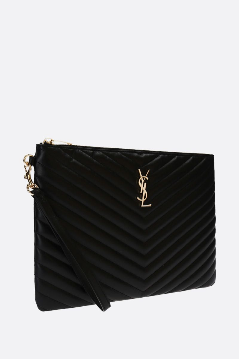 SAINT LAURENT: Monogram tablet holder in quilted leather Color Black_2