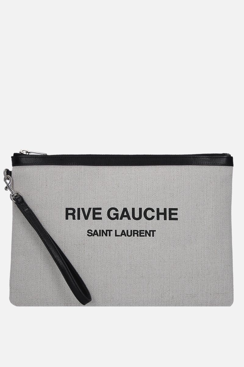 SAINT LAURENT: Rive Gauche pouch in canvas Color White_1