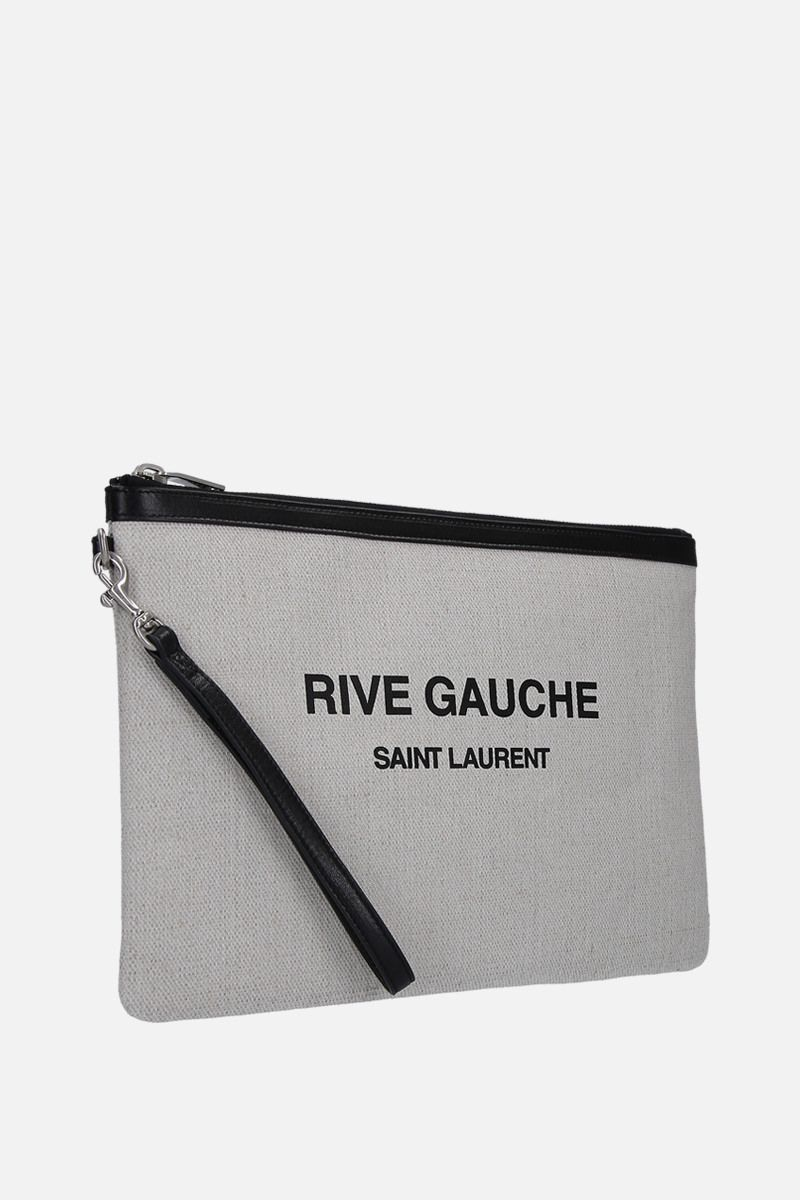 SAINT LAURENT: Rive Gauche pouch in canvas Color White_2