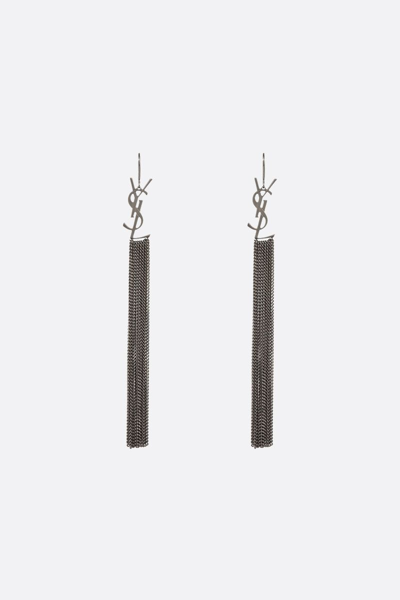 SAINT LAURENT: Monogram chain earrings in brass Color Grey_1