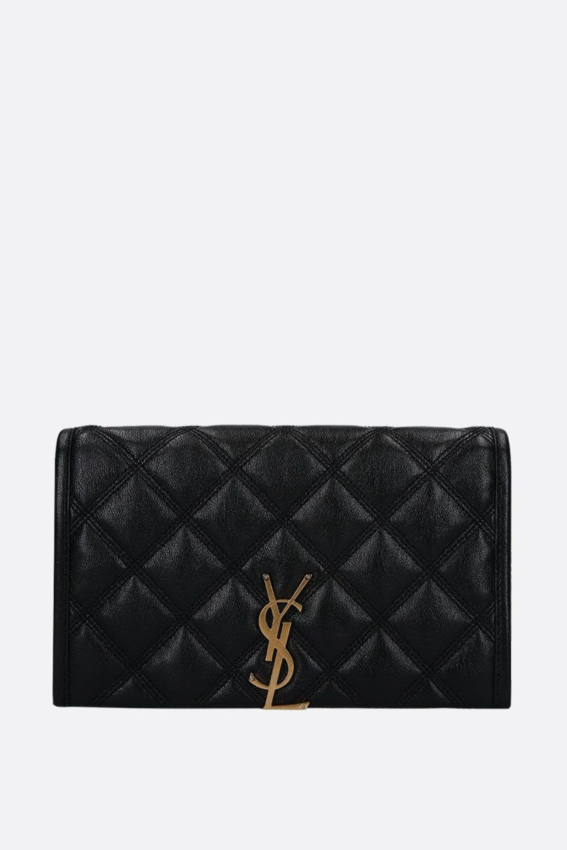 SAINT LAURENT: Becky chain wallet in quilted nappa Color Black_1
