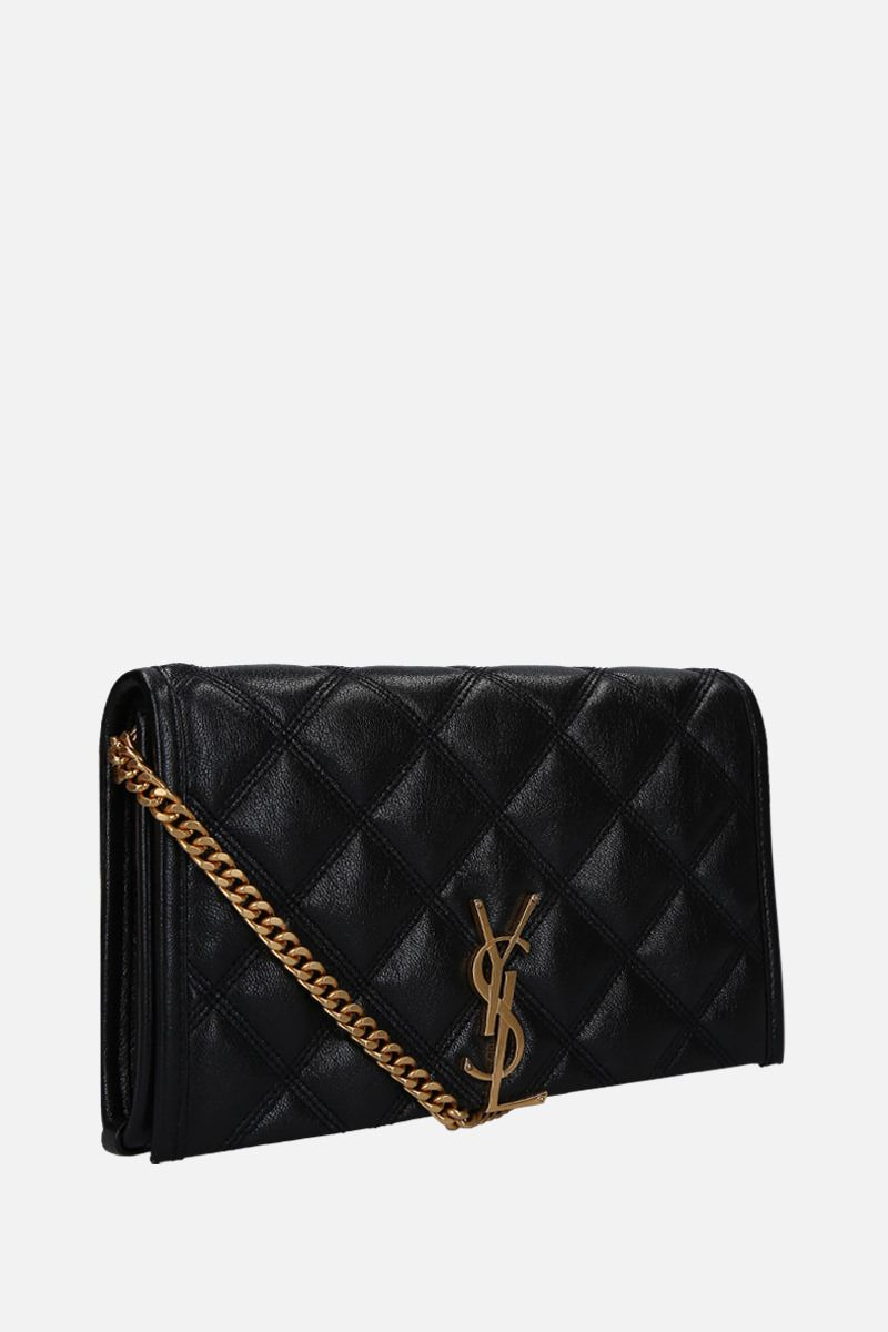 SAINT LAURENT: Becky chain wallet in quilted nappa Color Black_2