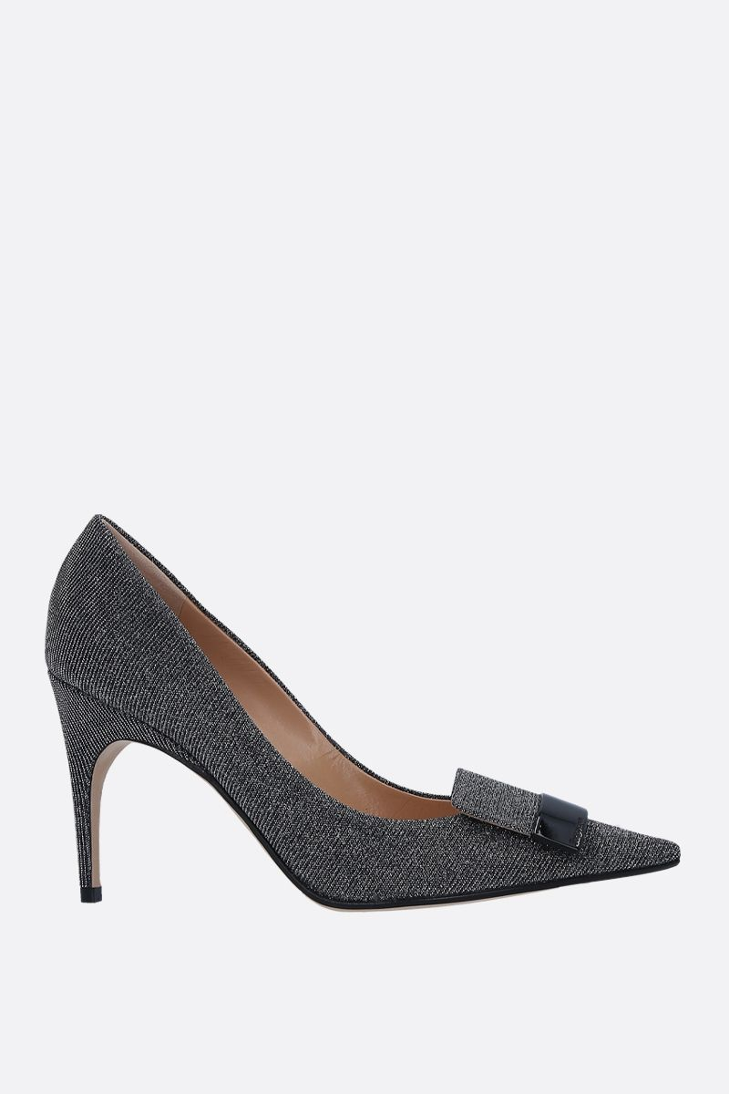 SERGIO ROSSI: SR1 pumps in glitter fabric Color Silver_1