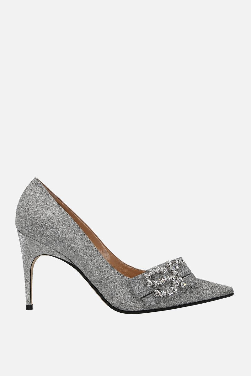 SERGIO ROSSI: sr Icona pumps in glitter fabric Color Silver_1