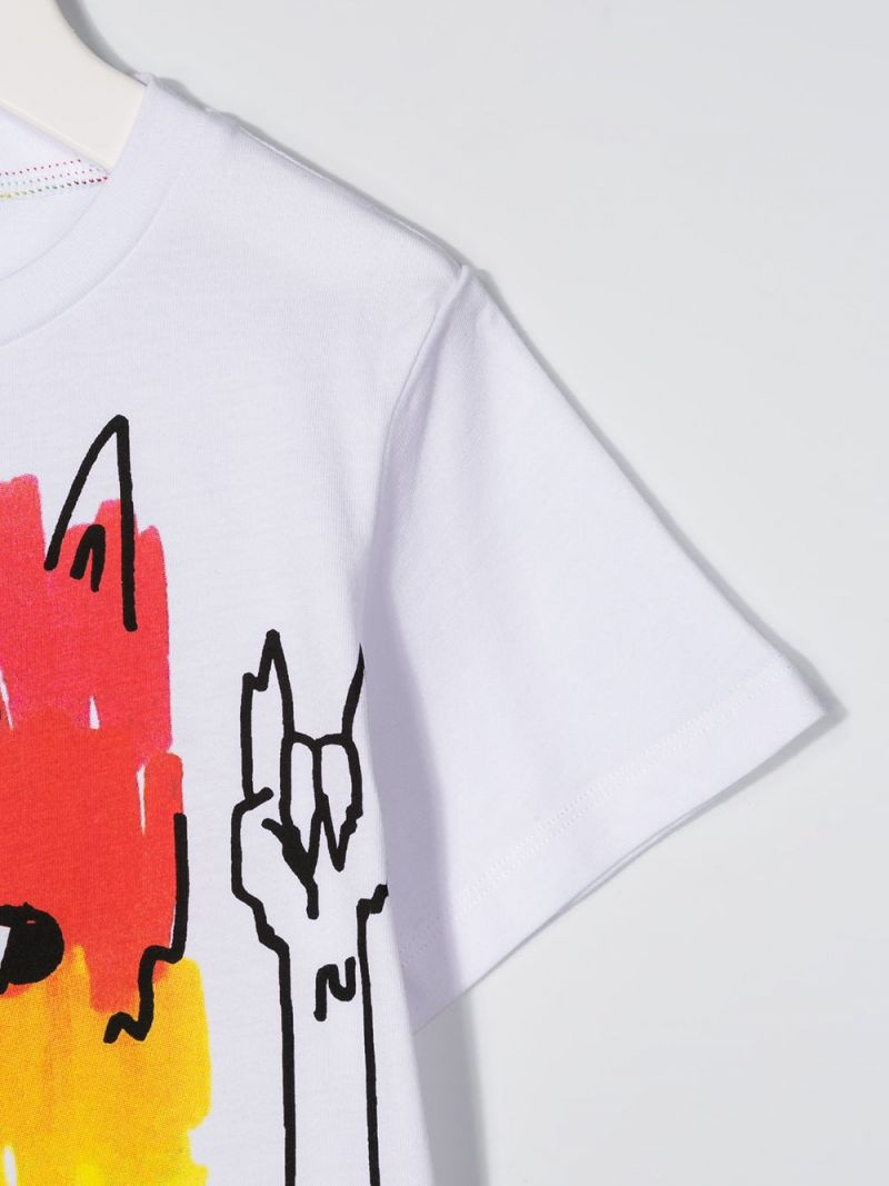 STELLA McCARTNEY KIDS: Rainbow Monster print cotton t-shirt Color White_3
