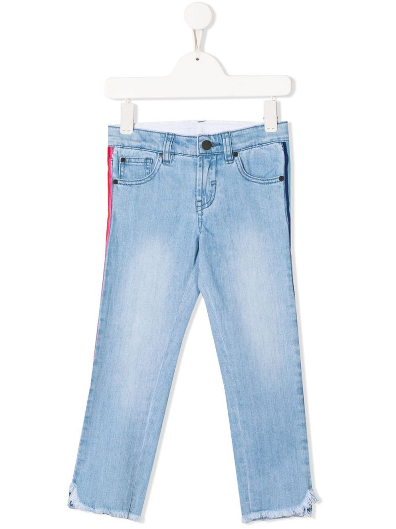 STELLA McCARTNEY KIDS: slim-fit jeans with logoed bands Color Blue_1