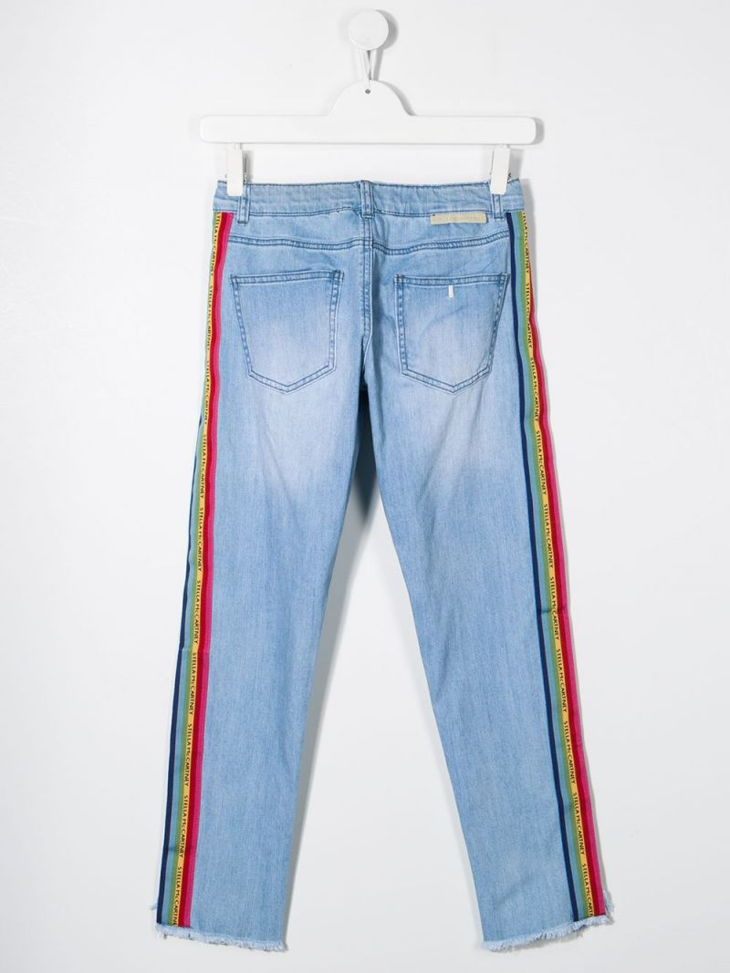 STELLA McCARTNEY KIDS: slim-fit jeans with logoed bands Color Blue_2