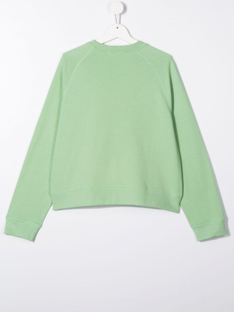 STELLA McCARTNEY KIDS: logo print cotton oversize sweatshirt Color Green_2