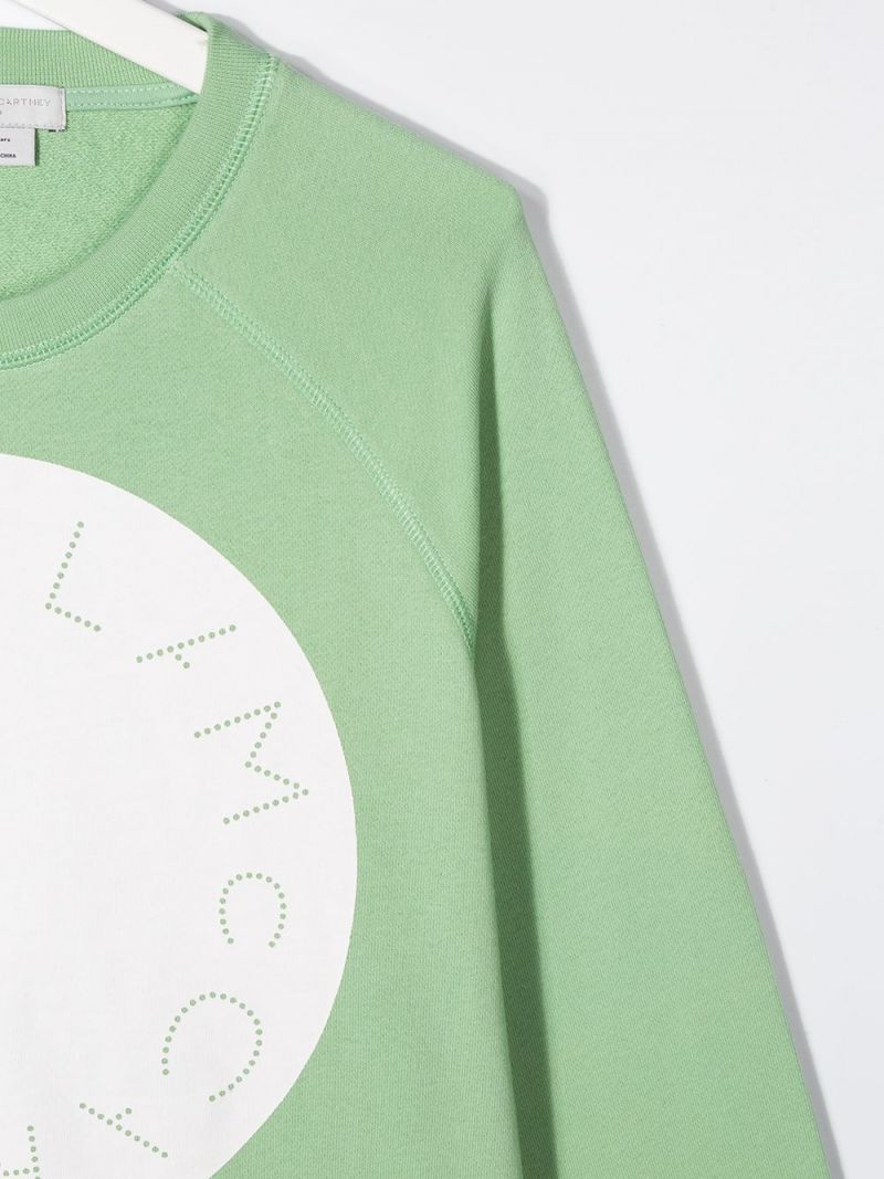 STELLA McCARTNEY KIDS: logo print cotton oversize sweatshirt Color Green_3