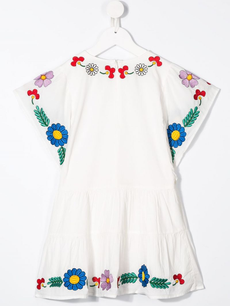 STELLA McCARTNEY KIDS: floral embroidered cotton dress Color Grey_2