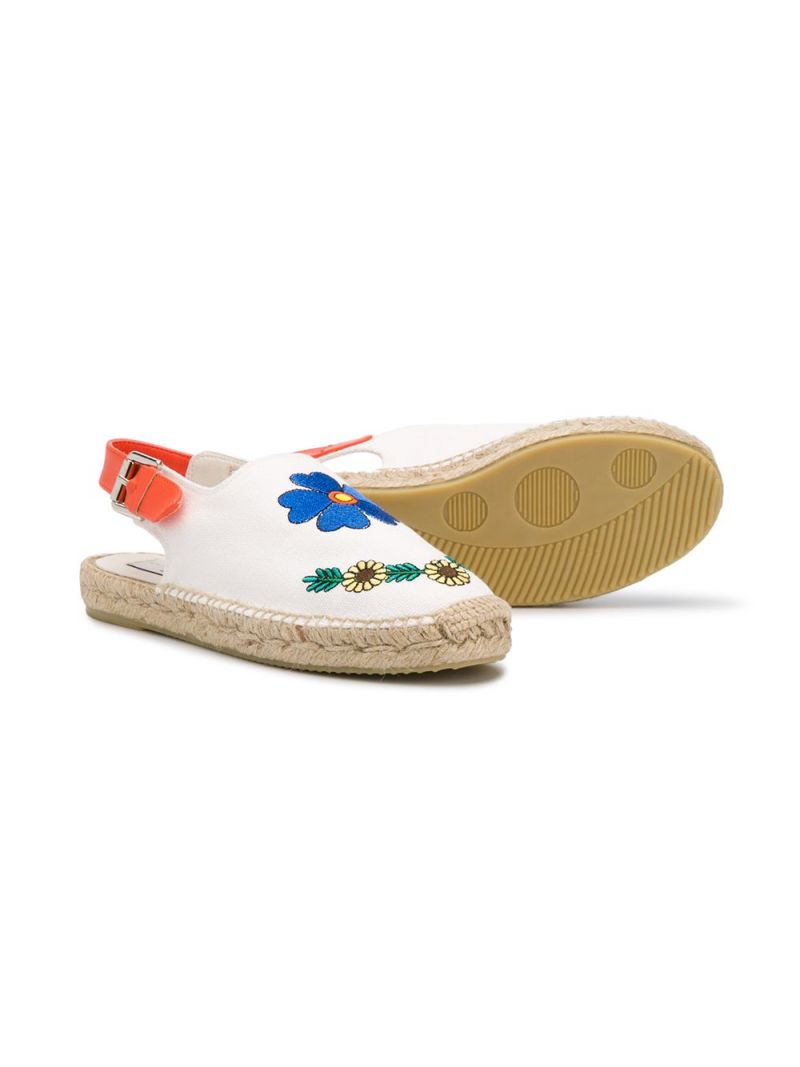 STELLA McCARTNEY KIDS: floral embroidered canvas espadrilles Color Grey_2