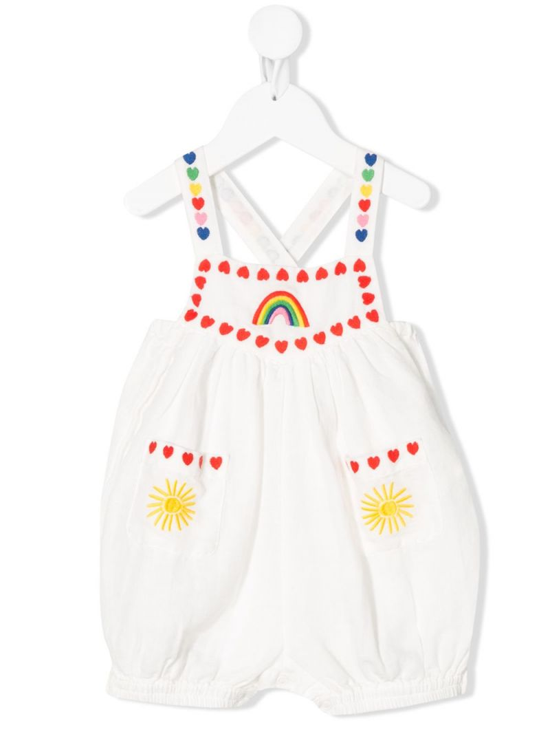 STELLA McCARTNEY KIDS: hearts embroidered linen cotton blend playsuit Color Grey_1