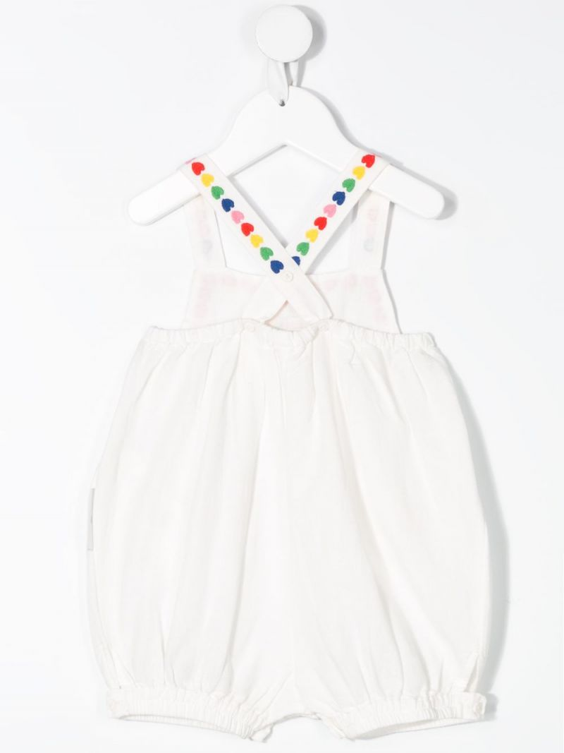 STELLA McCARTNEY KIDS: hearts embroidered linen cotton blend playsuit Color Grey_2