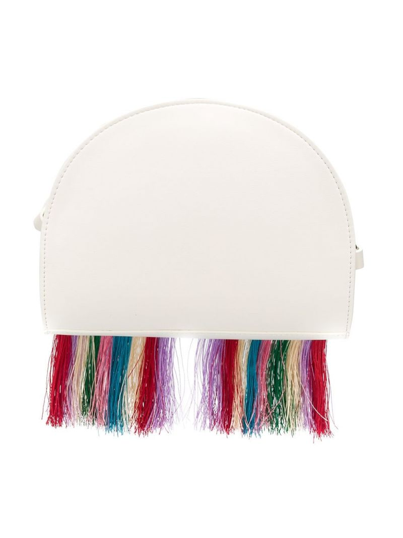 STELLA McCARTNEY KIDS: rainbow-detailed faux leather crossbody bag Color Grey_2
