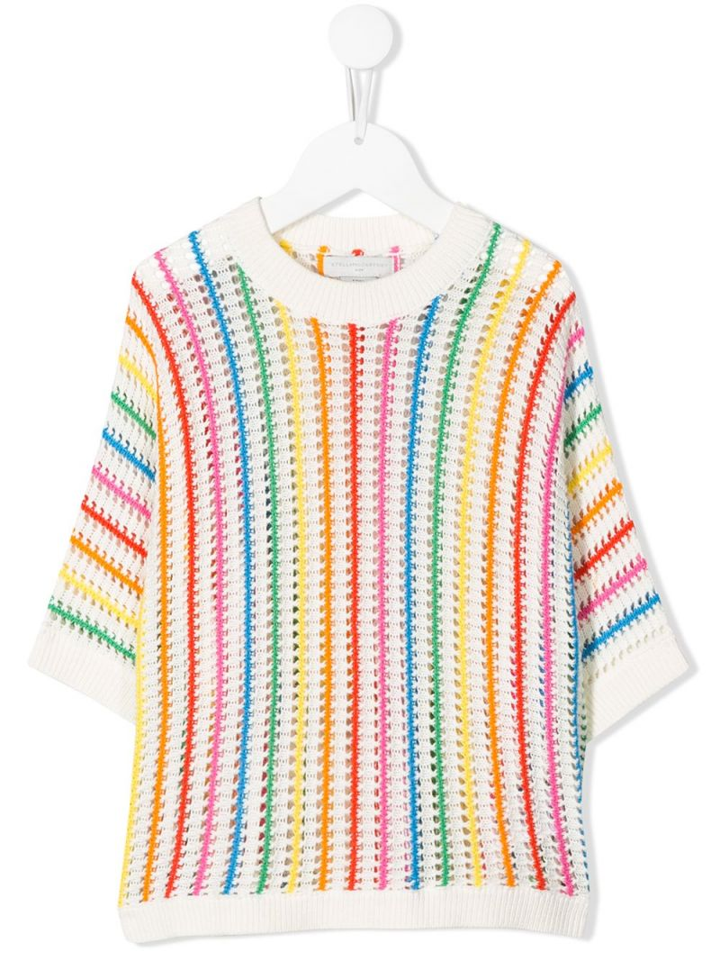 STELLA McCARTNEY KIDS: rainbow striped cotton pullover Color Grey_1
