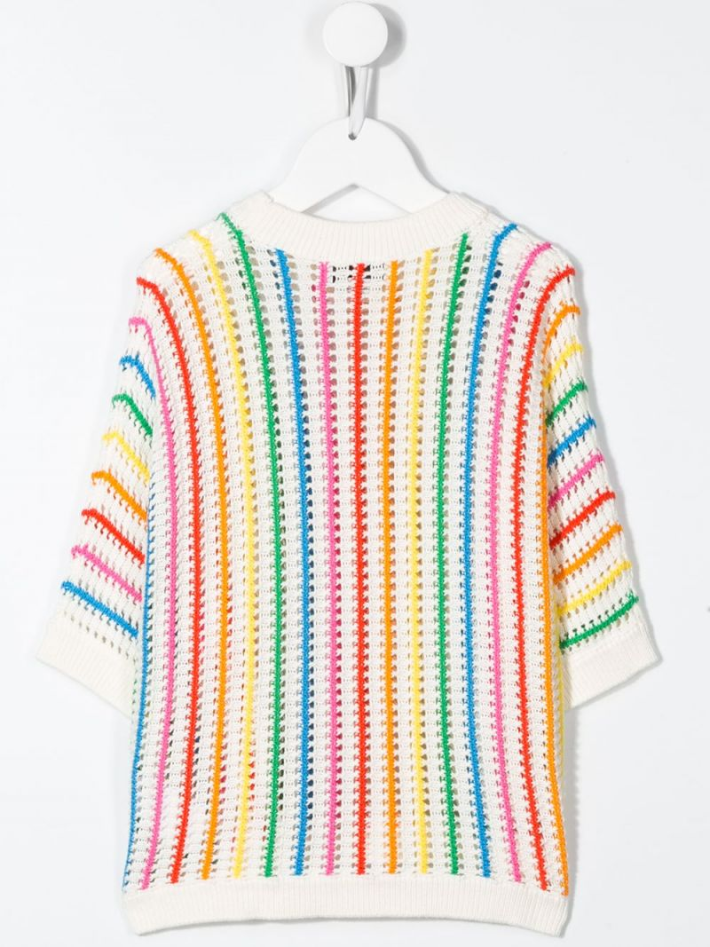 STELLA McCARTNEY KIDS: rainbow striped cotton pullover Color Grey_2