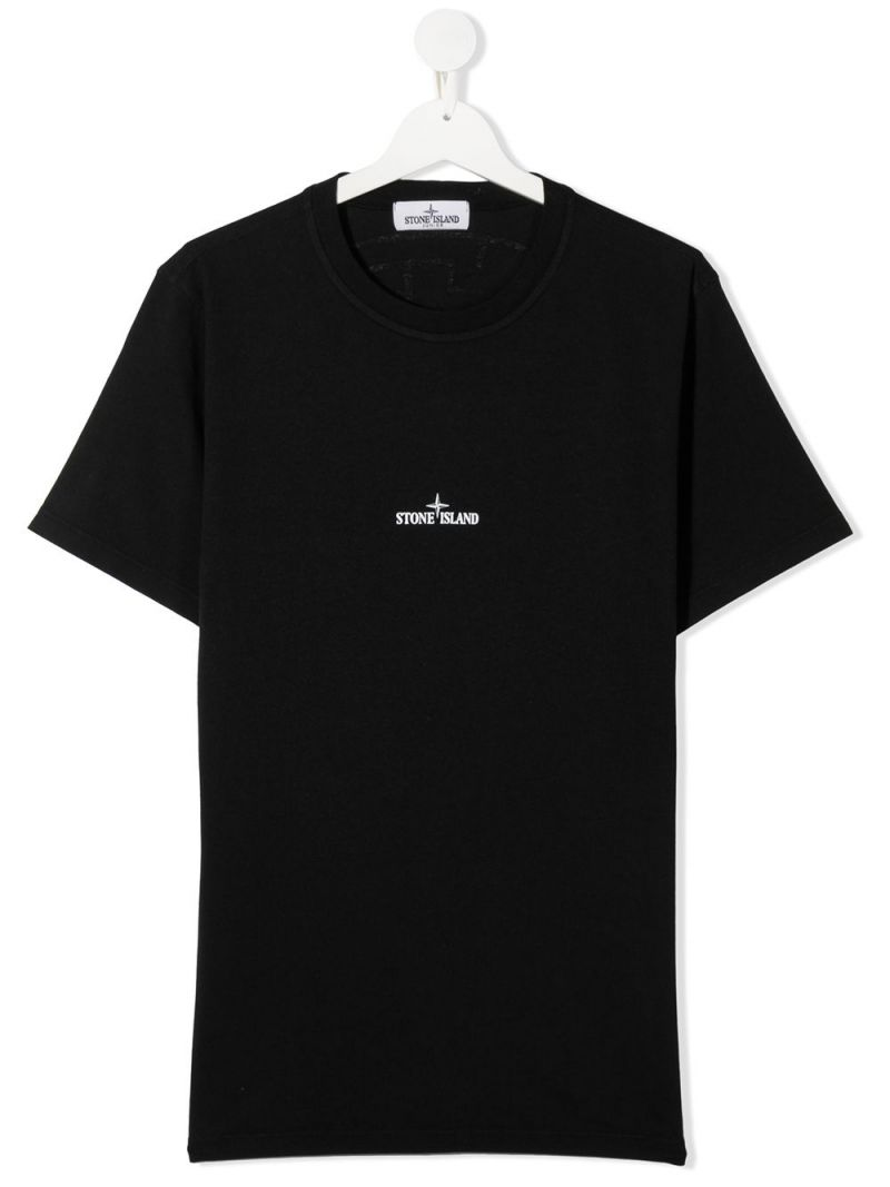 STONE ISLAND JUNIOR: logo print cotton t-shirt Color Black_1
