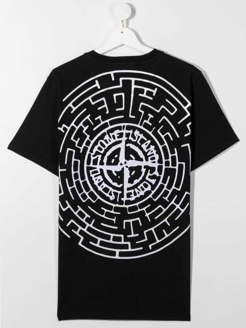 STONE ISLAND JUNIOR: logo print cotton t-shirt Color Black_2