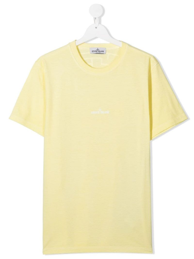 STONE ISLAND JUNIOR: logo print cotton t-shirt Color Yellow_1