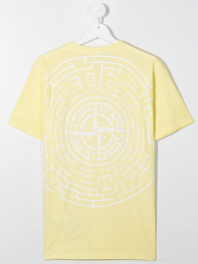 STONE ISLAND JUNIOR: logo print cotton t-shirt Color Yellow_2