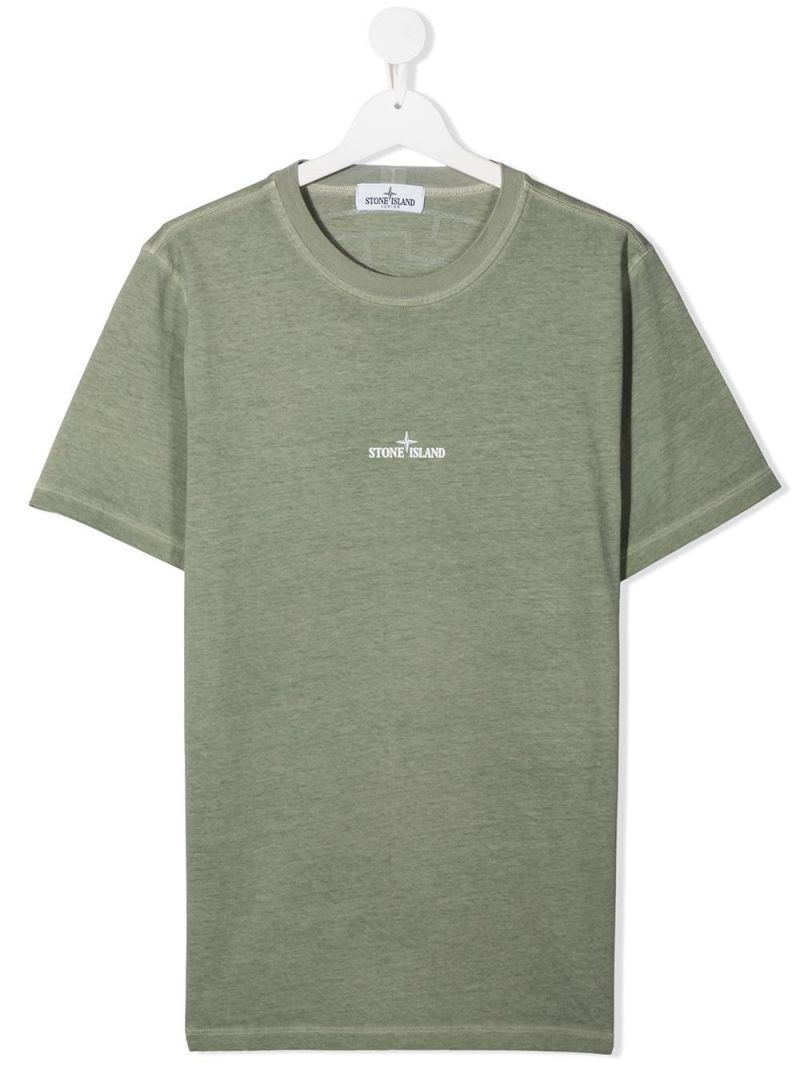 STONE ISLAND JUNIOR: logo print cotton t-shirt Color Green_1