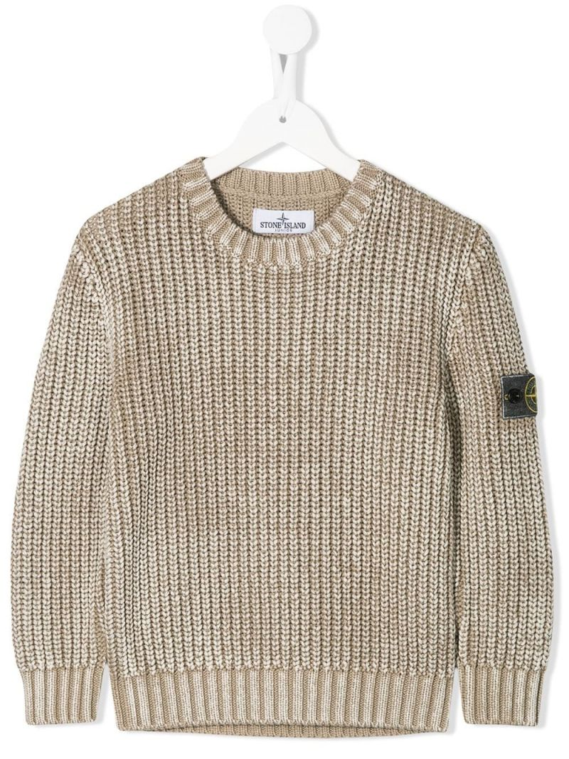 STONE ISLAND JUNIOR: logo badge-detailed cotton pullover Color Neutral_1