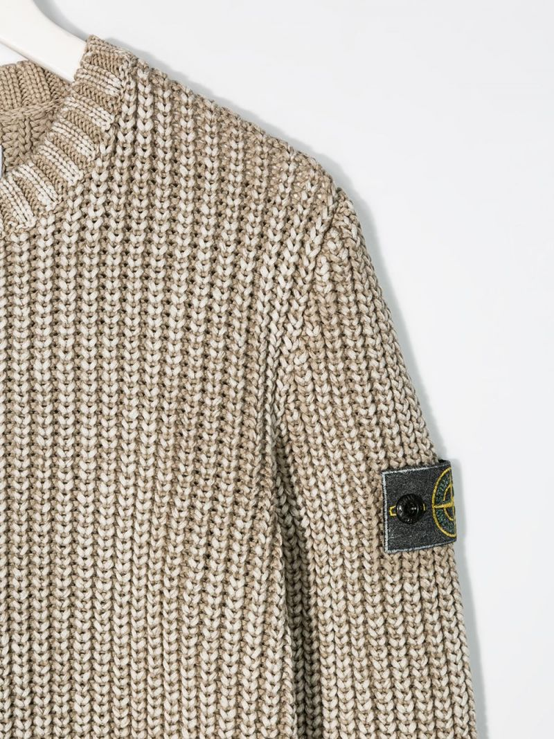STONE ISLAND JUNIOR: logo badge-detailed cotton pullover Color Neutral_3