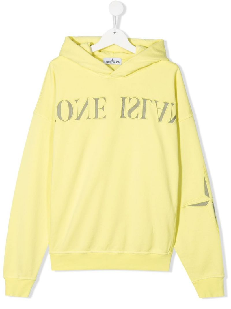 STONE ISLAND JUNIOR: logo embroidered cotton hoodie Color Yellow_1