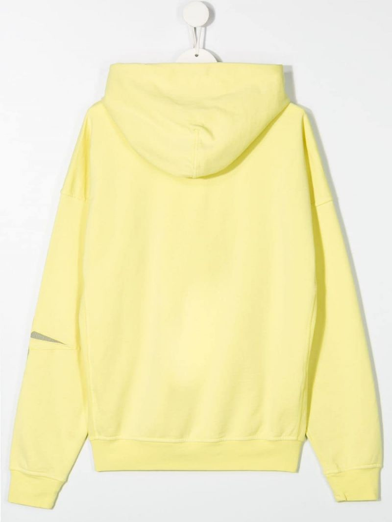 STONE ISLAND JUNIOR: logo embroidered cotton hoodie Color Yellow_2