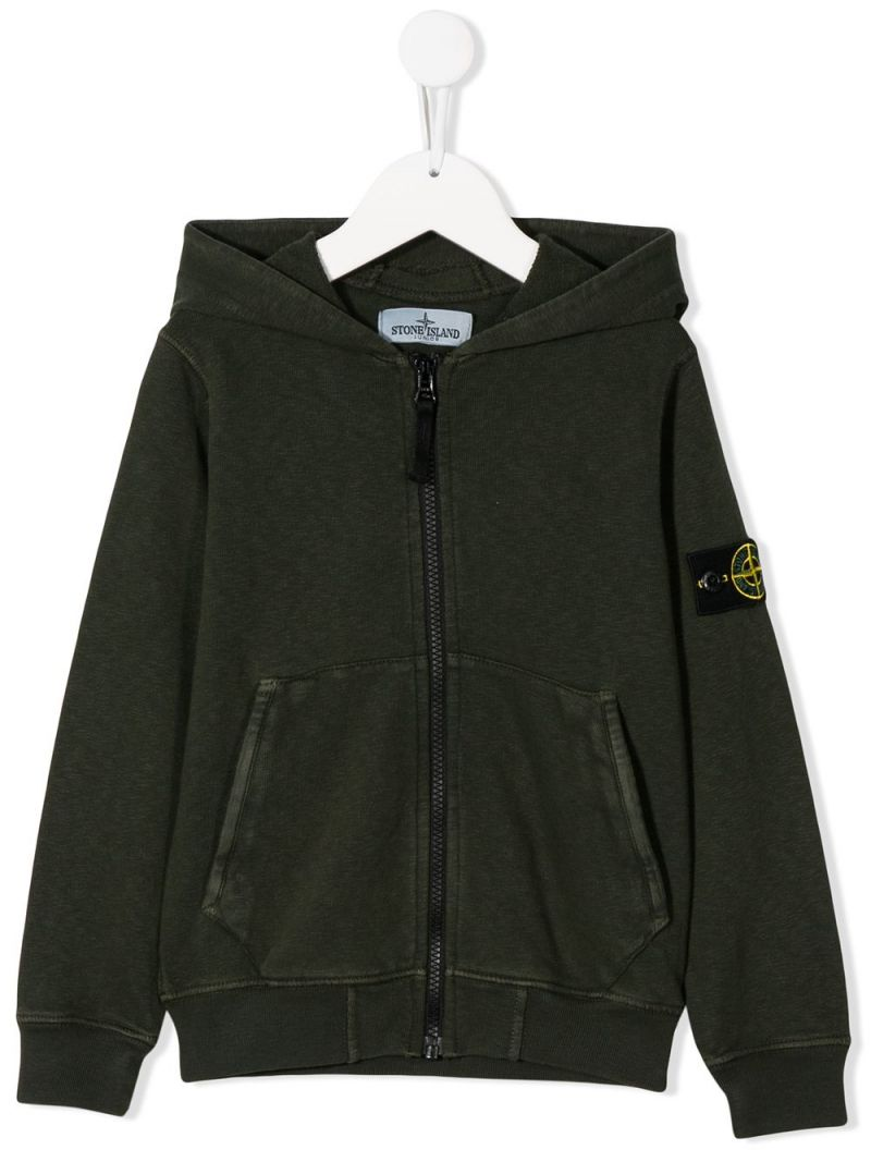 STONE ISLAND JUNIOR: logo badge-detailed cotton full-zip hoodie Color Pink_1