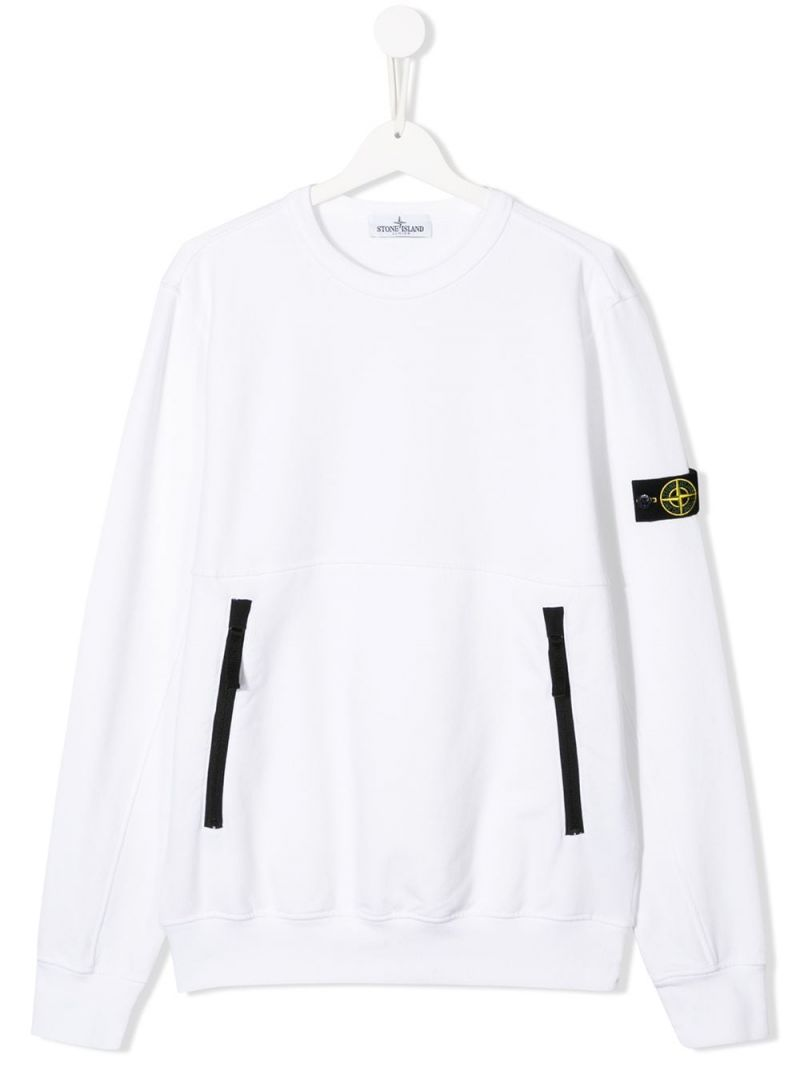 STONE ISLAND JUNIOR: logo badge-detailed cotton blend sweatshirt Color White_1
