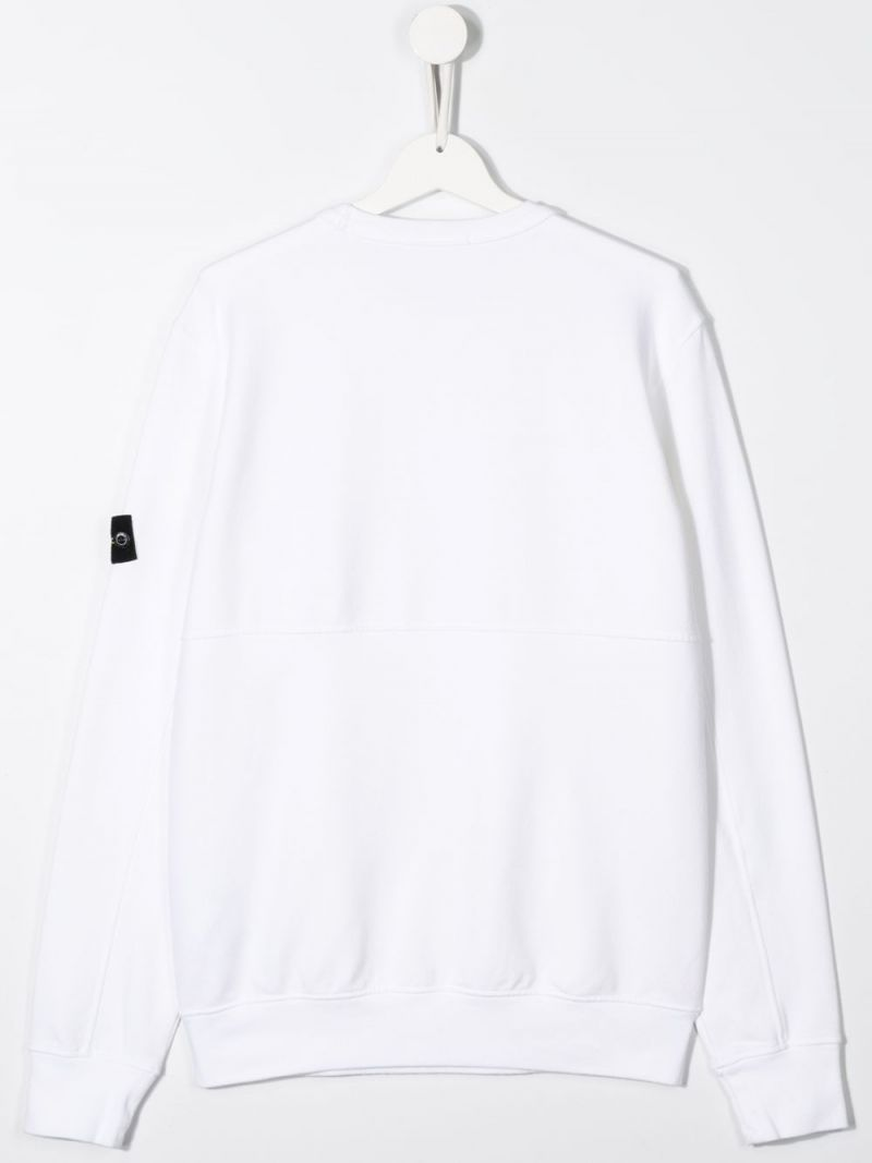 STONE ISLAND JUNIOR: logo badge-detailed cotton blend sweatshirt Color White_2
