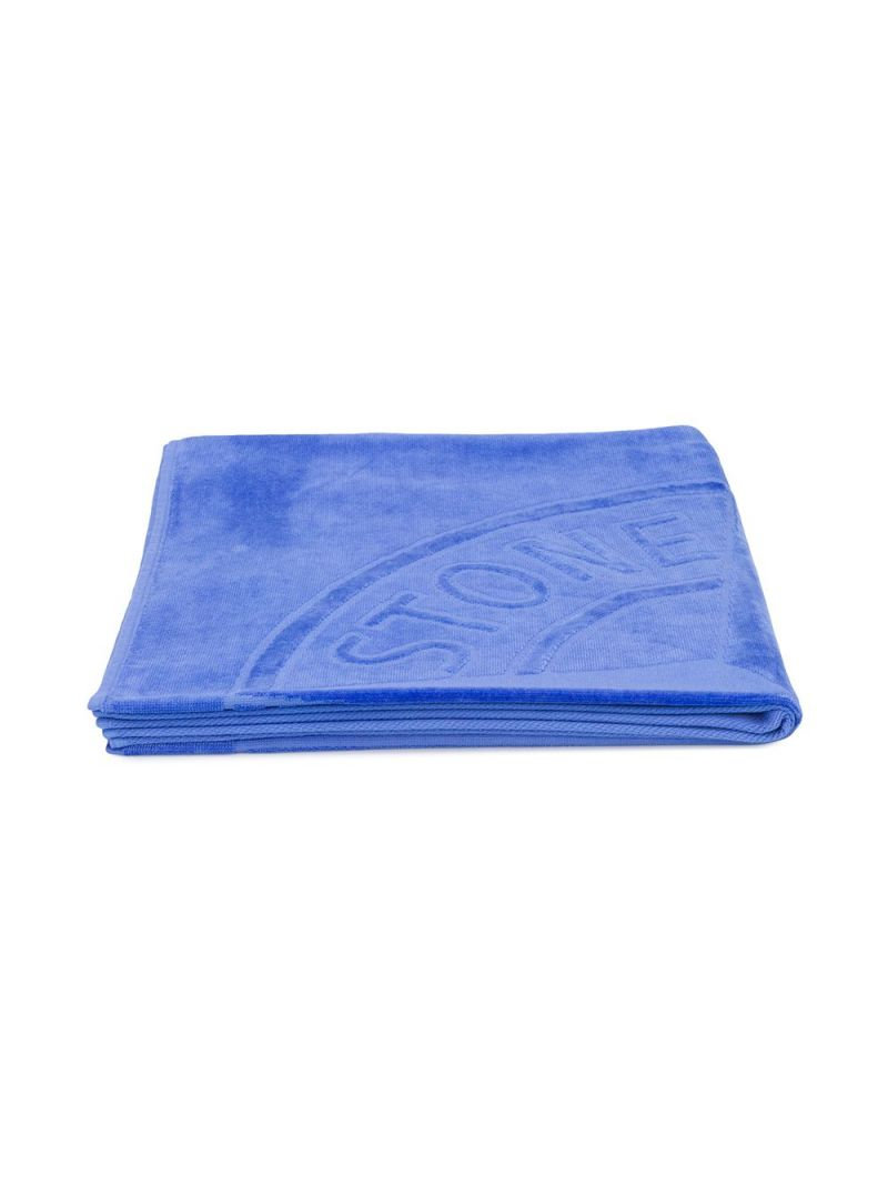 STONE ISLAND JUNIOR: logo-detailed cotton beach towel Color Purple_1