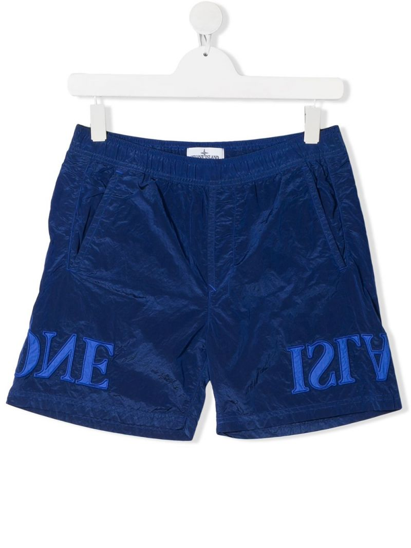 STONE ISLAND JUNIOR: logo embroidered nylon swim shorts Color Purple_1