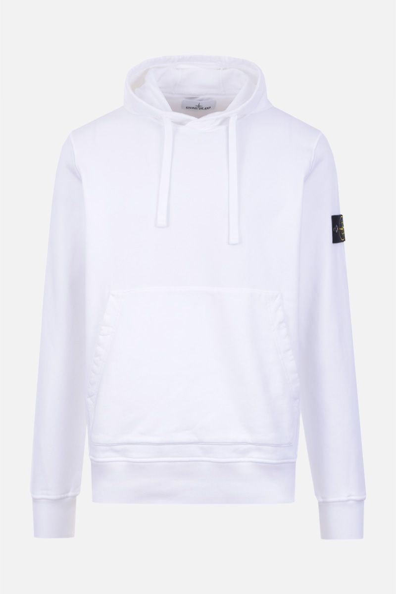 STONE ISLAND: regular-fit cotton jersey hoodie Color White_1