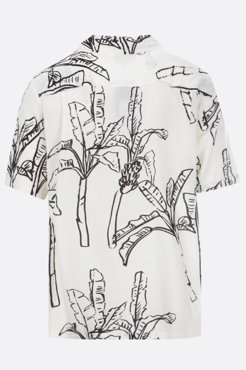 STUSSY: Banana Tree rayon bowling shirt Color White_2
